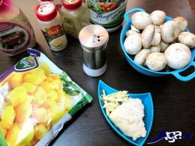 مواد لازم برای طرز تهیه ذرت مکزیکی با قارچ