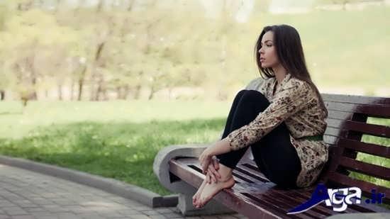 عکس های تنهایی دختر روی نیمکت