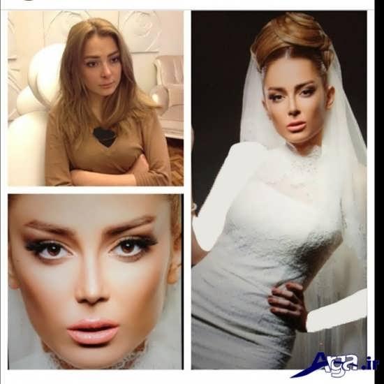مدل زیبا و جذاب آرایش صورت و آرایش مو عروس