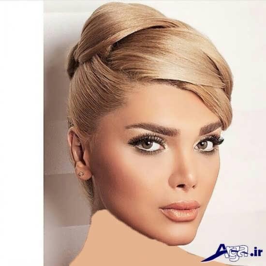 مدل آرایش مو و آرایش صورت ساده برای عروس