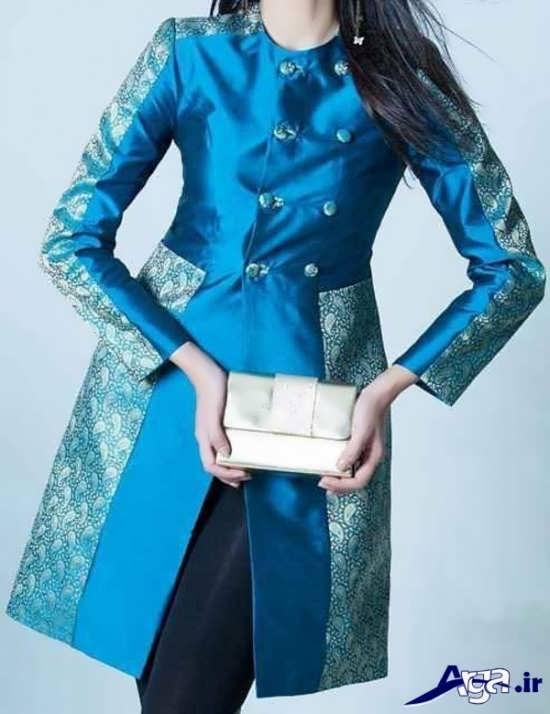 مدل مانتو مجلسی دو رنگ 2016