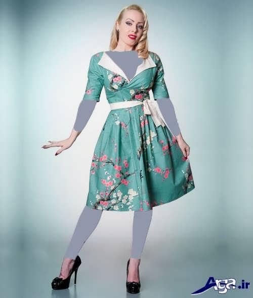 مدل لباس مجلسی با پارچه طرح دار