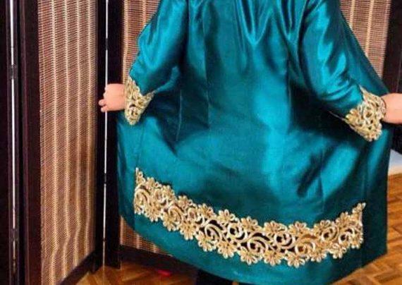 مدل مانتو حاشیه دار سبز آبی