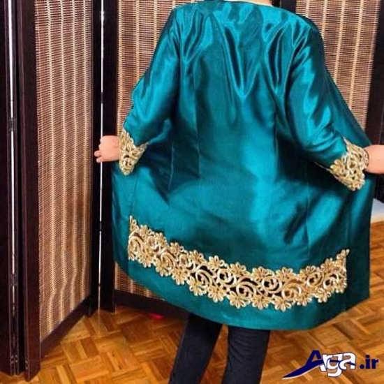 مدل مانتو سبز آبی حاشیه دار
