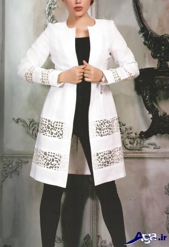مدل مانتو سفید حاشیه دار