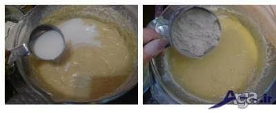 افزودن آرد به مایه کیک گردویی