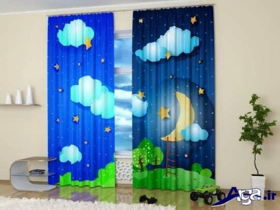 پرده با طرح ماه برای اتاق نوزاد