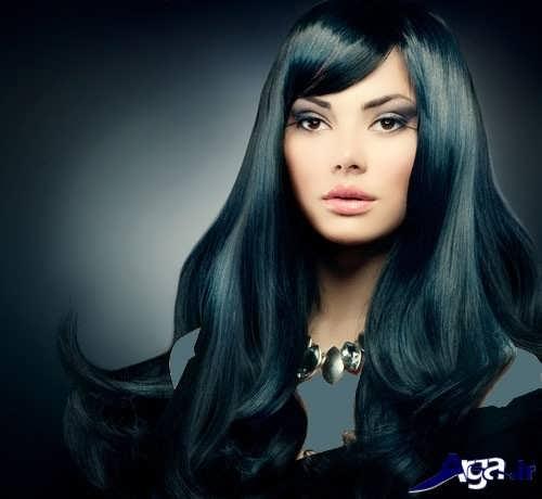 رنگ موی مشکی با هایلایت