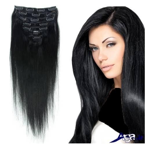 مدل موی بلند با رنگ مشکی
