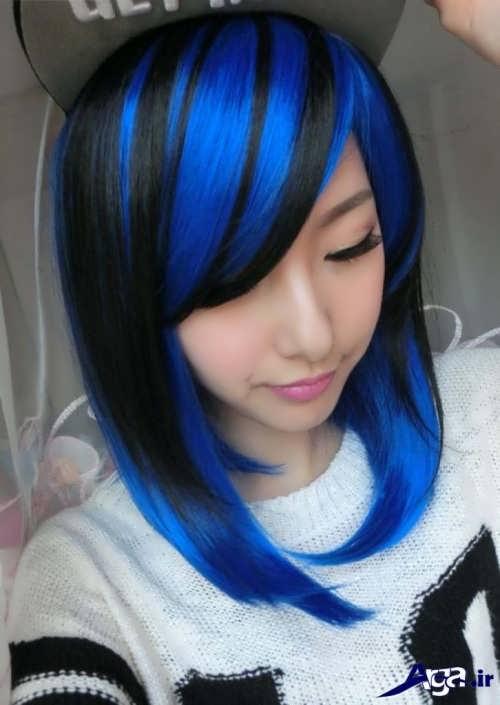 رنگ موی زیبا آبی مشکی