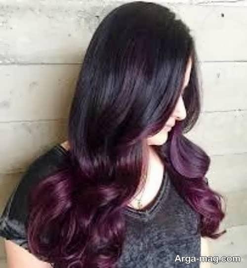 رنگ مو مشکی قشنگ با تناژ قرمز