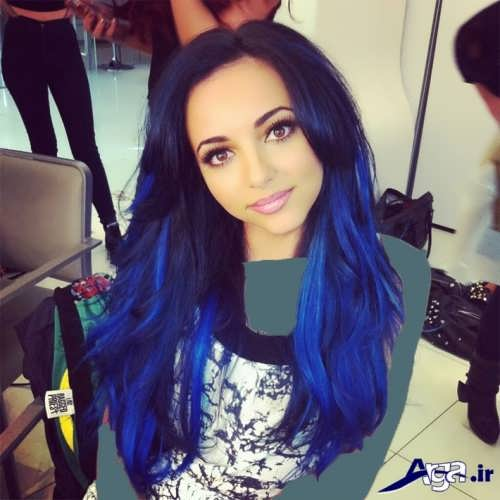 رنگ موی مشکی آبی