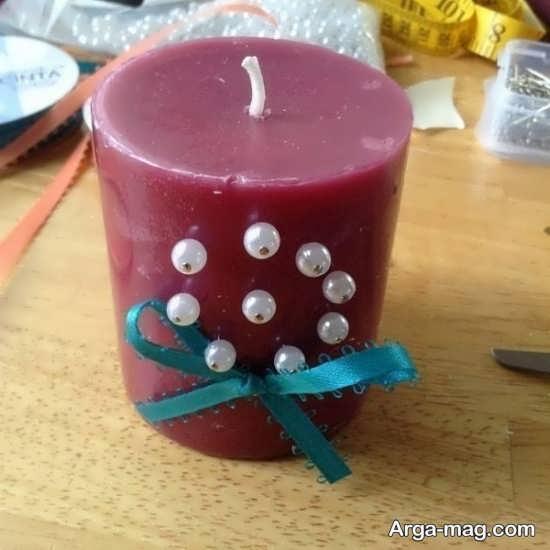 زیباترین تزیین شمع با مروارید