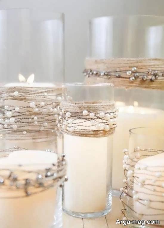 ایده های نو تزیینات شمع با مروارید و نگین