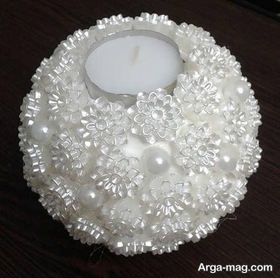 ایده های خاص تزیینات شمع با مروارید و نگین