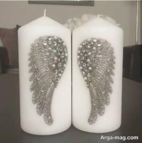 تزیینات جذاب شمع با مروارید و نگین
