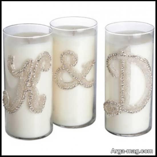 تزیینات لاکچری شمع با مروارید و نگین