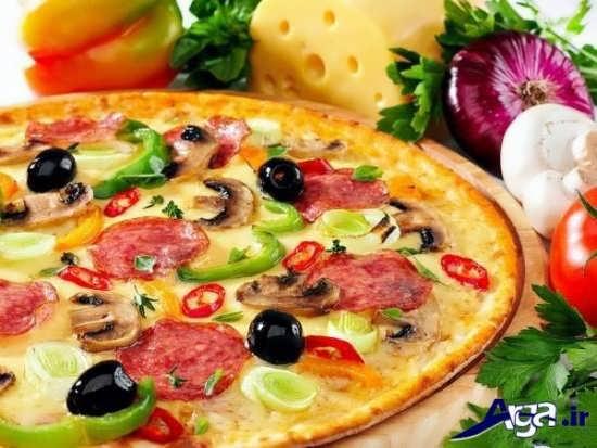تزیین ساده پیتزا خانگی