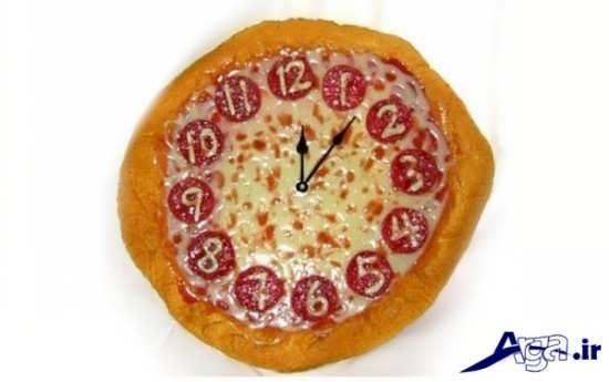 تزیین پیتزا به شکل ساعت