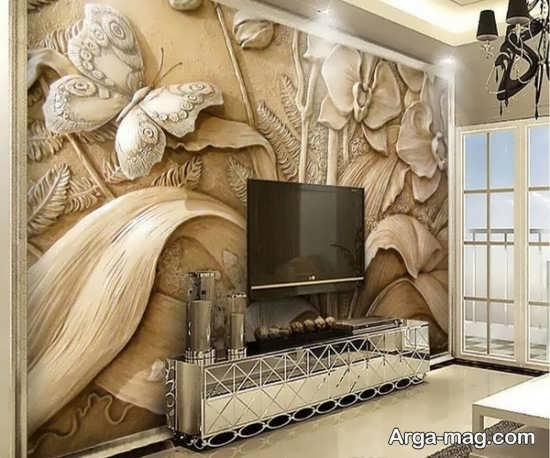 تزییناتی از دیوار پشت تلویزیون