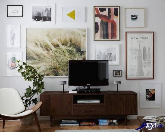 تزیین دیوار پشت تلویزیون با تابلو