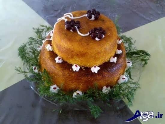 تزیین کردن ته چین به شکل کیک