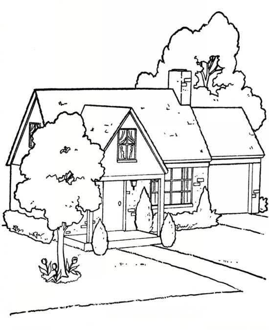 نقاشی های خانه های زیبا و درختان جذاب