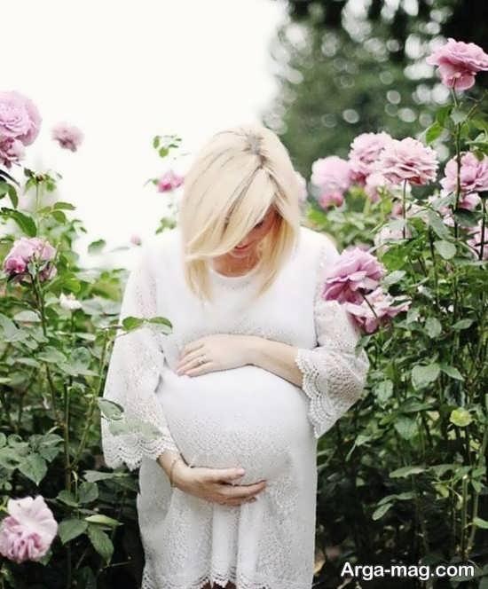 ژست عکس حاملگی در طبیعت بهاری