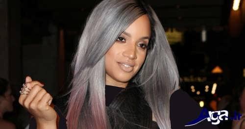 رنگ موی خاکستری با هایلایت