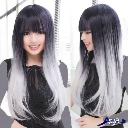 رنگ مو خاکستری با هایلایت