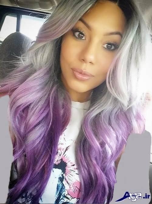 رنگ موی زیبا و متفاوت خاکستری بنفش