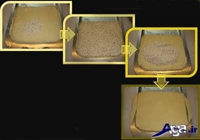 ریختن مغز باقلوا بر روی لایه های خمیر نازک