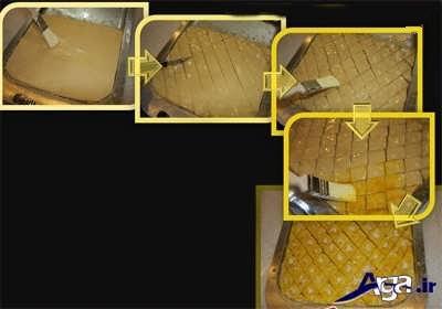 برش دادن خمیر باقلوا به شکل لوزی