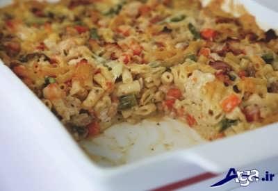 طرز تهیه ماکارونی در فر با مرغ