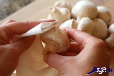 تمیز کردن قارچ با دستمال سفید مرطوب