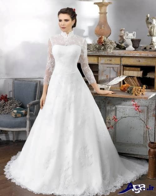 مدل لباس عروس آستین دار ایرانی