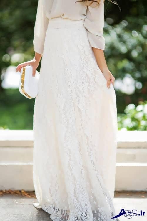 مدل دامن سفید و بلند