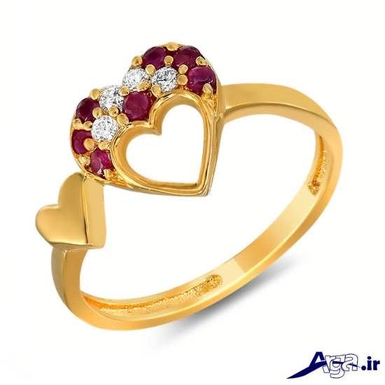 مدل انگشتر طلا زنانه با طرح قلب