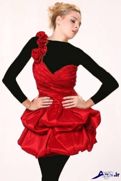 مدل لباس شب کوتاه قرمز