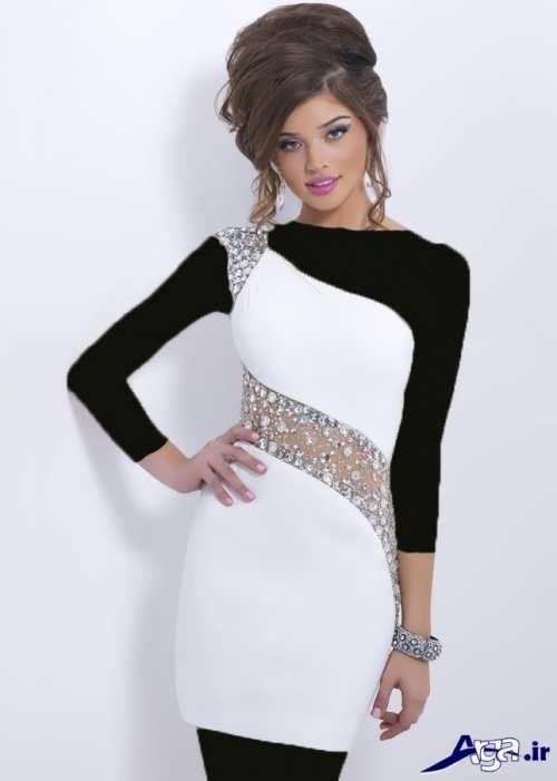 مدل لباس شب کوتاه سفید