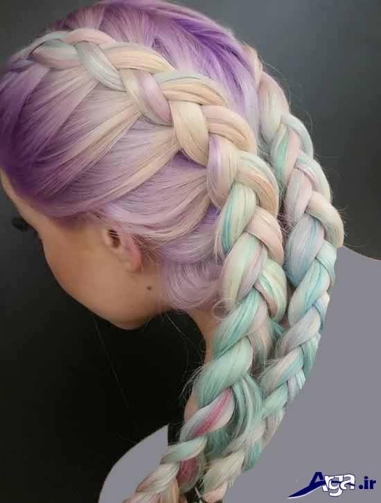 بافت مو زیبا برای موها با رنگ فانتزی
