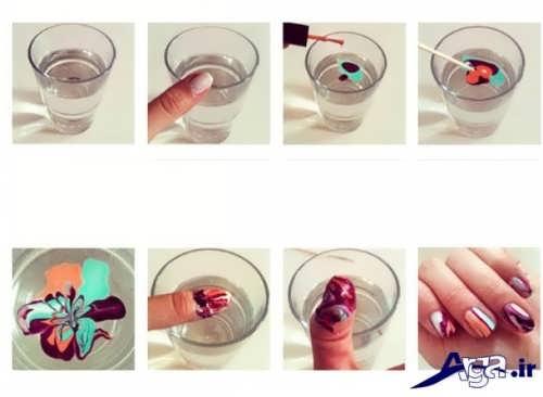 آموزش تصویری طراحی ناخن با لاک و آب