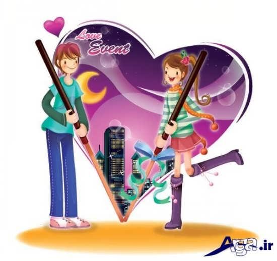 عکس کارتونی عاشقانه دخترانه