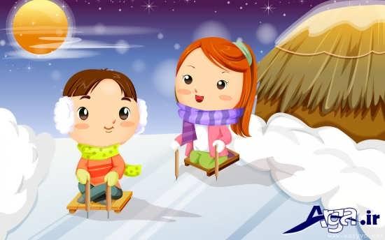 عکس برفی کارتونی عاشقانه
