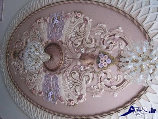 گچبری سقف با طرحی متفاوت برای پذیرایی