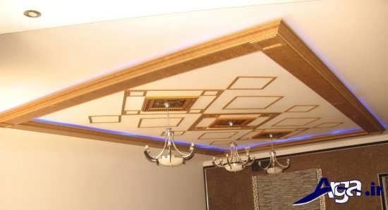 گچبری سقف با نورپردازی متفاوت