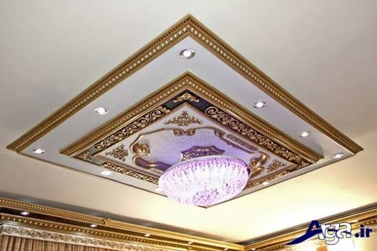 مدل لوستری و گچبری سقف برای پذیرایی