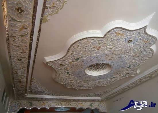 گچبری زیبا سقف پذیرایی