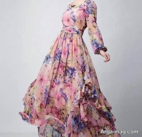 لباس حریر گلدار دخترانه