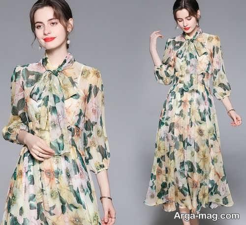 مدل پیراهن حریر گلدار
